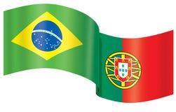 brazil flagga portugal Royaltyfria Bilder