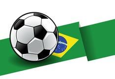 brazil flaggafotboll royaltyfri illustrationer