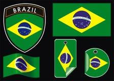brazil flaggaillustration Fotografering för Bildbyråer