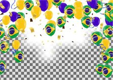 Brazil flags and Brazil balloons garland with confetti on white. Confetti and ribbons flag ribbons, Celebration background template. victory.winner Stock Images