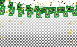 Brazil flags and Brazil balloons garland with confetti on white. Confetti and ribbons flag ribbons, Celebration background template. victory.winner Royalty Free Stock Photography
