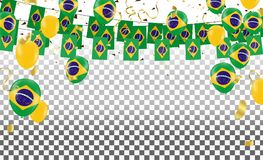 Brazil flags and Brazil balloons garland with confetti on white. Confetti and ribbons flag ribbons, Celebration background template. victory.winner Stock Photo