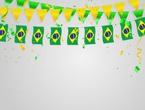 Brazil flags Celebration background with confetti and green and yellow ribbons. Brazil flags Celebration background template with confetti and green and yellow Stock Photos