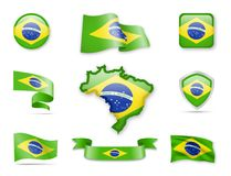 Brazil Flag Collection. Brazil Flags Collection. Flags and maps. Vector illustration Royalty Free Stock Photos