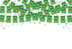 Brazil flags garland white background with confetti. Hang bunting for Brazilian independence Day celebration template banner, Vector illustration Stock Image