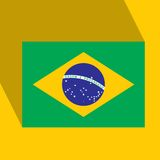 Brazil 2014 Flat Icon with Brazilian Flag.  Royalty Free Stock Photography