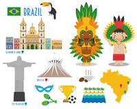 Brazil Flat Icon Set Travel and tourism concept. Royalty Free Stock Images