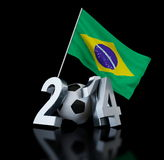 Brazil football 2014. On black background Stock Photography