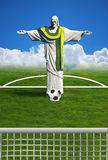 Brazil Football. Christ redeemer of Rio de Janeiro player football Stock Images