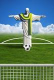 Brazil Football. Christ redeemer of Rio de Janeiro player football stock illustration