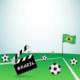 Brazil football ciak. Brazil event beginning with clapper board vector illustration