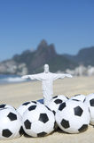 Brazil Football Cristo Soccer Balls Rio Beach Royalty Free Stock Photo