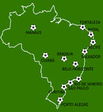 Brazil Football Cup Cities Map Balls Royalty Free Stock Photography