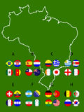 Brazil Football Cup Groups Map with Coat of Arms Stock Image