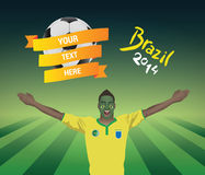 Brazil football fan. With banner and text Royalty Free Stock Photo