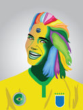 Brazil football fan. With face paint and multi colour hair Royalty Free Stock Images