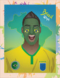 Brazil football fan. For world cup Royalty Free Illustration