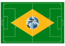 Brazil football field. Vector football field with ball looks like Brazilian flag Royalty Free Stock Photography