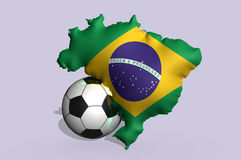 Brazil 2014 football. And a flag Stock Photos