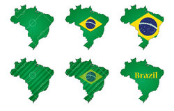 Brazil football maps. Six differently styled maps of Brazil as a football nation Stock Photography