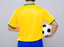 Brazil football player hold soccer ball Royalty Free Stock Photos