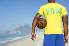 Brazil 2014 Football Player Holding Soccer Ball Rio Royalty Free Stock Photography