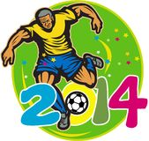 Brazil 2014 Football Player Kick Retro. Illustration of a Brazil football player kicking soccer ball in oval background with numbers 2014 done in retro style Royalty Free Stock Image