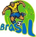 Brazil Football Player Kicking Ball Retro Stock Image