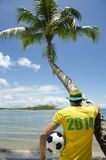 Brazil 2014 Football Player on Nordeste Beach Stock Photos