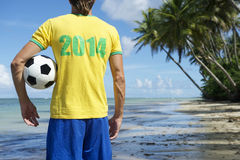 Brazil 2014 Football Player on Nordeste Beach Royalty Free Stock Photos