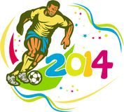 Brazil 2014 Football Player Running Ball Retro Royalty Free Stock Image