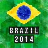 Brazil 2014 football poster. Hexagon background. Vector illustra Royalty Free Stock Photos