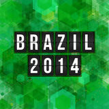 Brazil 2014 football poster. Hexagon background. Vector illustra Royalty Free Stock Photo