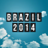 Brazil 2014 football poster. Sky background and timetable styliz. Ed letters Royalty Free Stock Photo