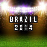 Brazil 2014 football poster. Stadium background and timetable st. Ylized letters Royalty Free Stock Images
