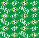Brazil football seamless pattern. Seamless pattern with soccer ball and word Brazil 2014. Vector eps8 Royalty Free Stock Photo