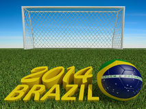Brazil 2014 on football or soccer field. 3d Royalty Free Stock Photos