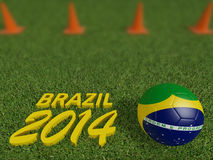 Brazil 2014 on football or soccer field ,3d. Render Stock Photos