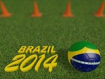 Brazil 2014 on football or soccer field ,3d Stock Photos