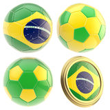 Brazil football team attributes isolated. Brazil football team set of four soccer ball attributes isolated on white Stock Images