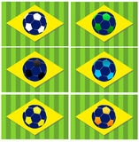 Brazil football vector icons. Brazil Soccer (Football) World Championship 2014 vector icons set Royalty Free Stock Photography