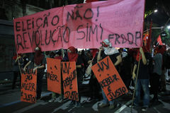 Brazil General Strike. Rio de Janeiro, Brazil, June 30, 2017: Brazilian workers carried out a general strike in the main cities of the country. In Rio de Janeiro Stock Image