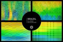 Brazil geometric blurred backgrounds set stock illustration