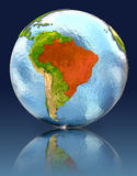 Brazil on globe with reflection. Illustration with detailed planet surface. Elements of this image furnished by NASA Royalty Free Stock Image