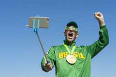 Brazil Gold Medal Athlete Taking Selfie with Selfie Stick Stock Photos