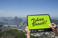 Brazil Goodbye Tchau Message Football Tactics Board Stock Photos
