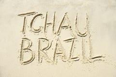 Brazil Goodbye Tchau Message Sand Writing Royalty Free Stock Photos