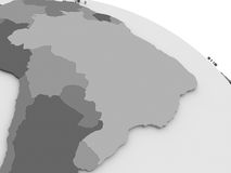 Brazil on grey 3D map. Map of Brazil on grey model of Earth. 3D illustration Royalty Free Stock Photo