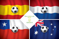 Brazil 2014 group B. FIFA word cup. Brazil 2014 group B. Vector flag with shadow. FIFA word cup Stock Images
