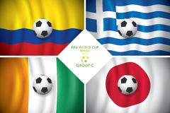 Brazil 2014 group C. FIFA word cup. Brazil 2014 group C. Vector flag with shadow. FIFA word cup Stock Image